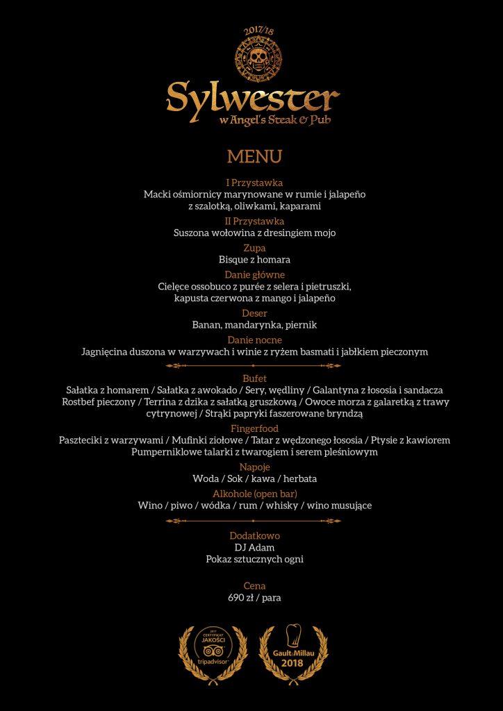 Sylwester w Angel's - menu
