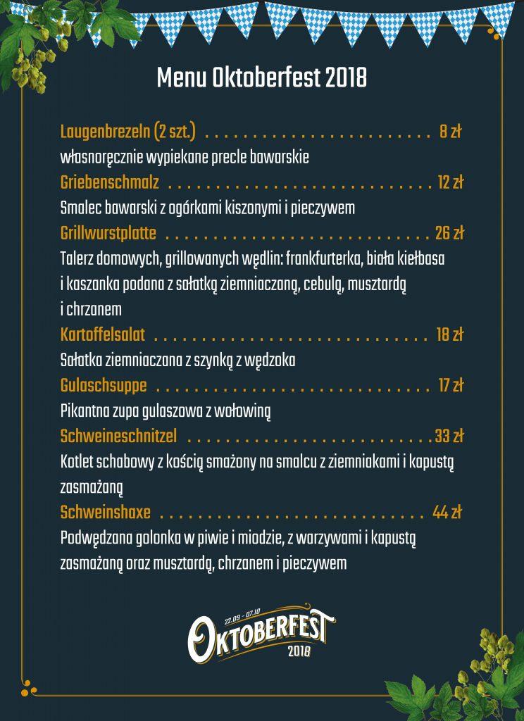 Oktoberfest 2018 - menu